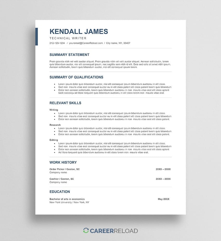 Free career change resume