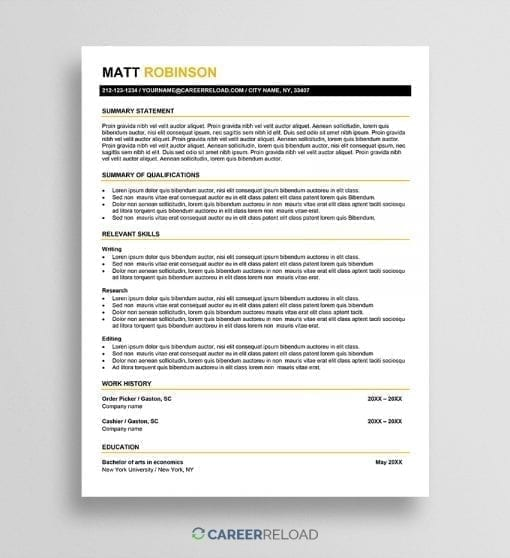 Resume for career change