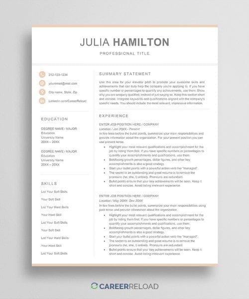 Feminine resume template julia