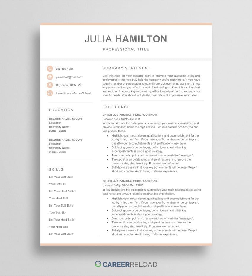 Feminine resume template julia