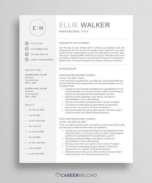 Resume with monogram