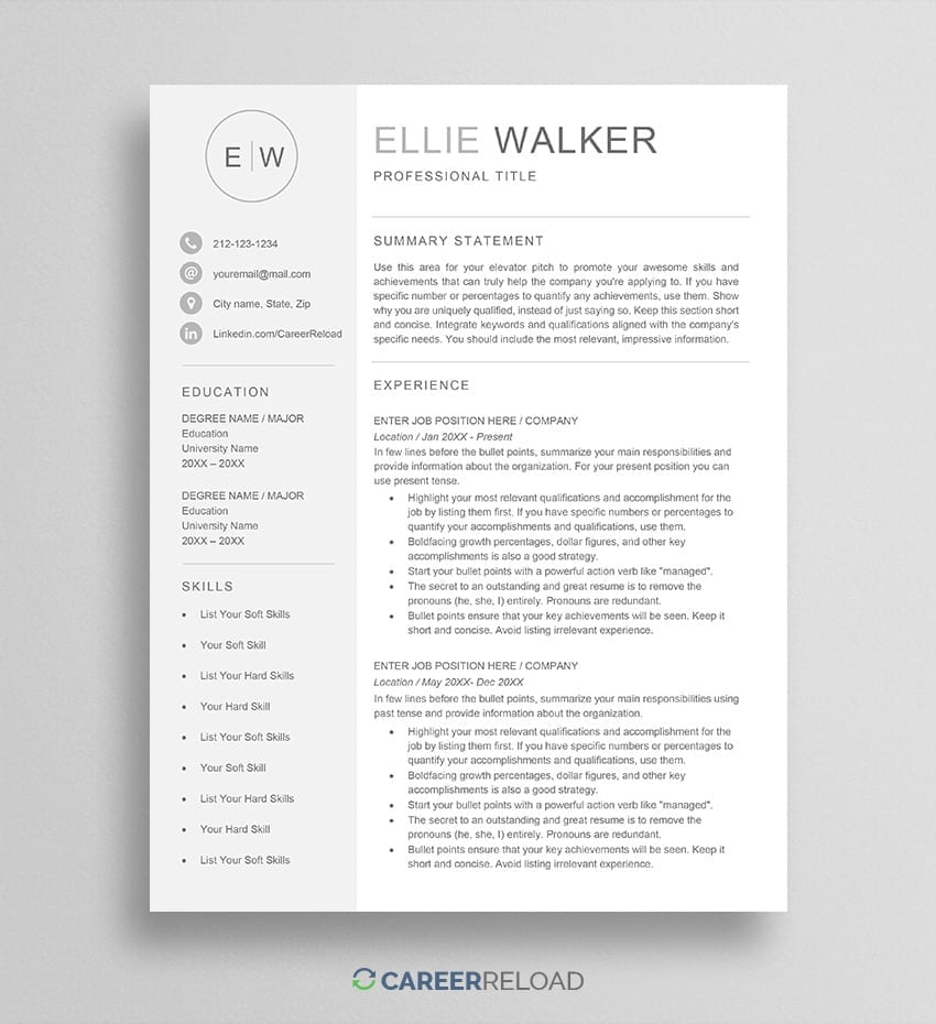 Resume with monogram