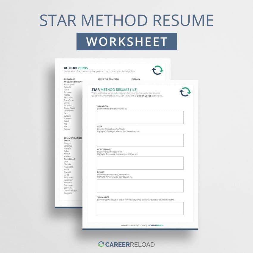 STAR method resume worksheet
