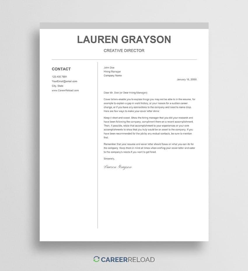 2 columns Google Docs cover letter