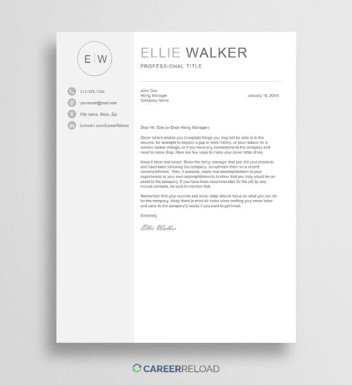 Cover letter template with monogram