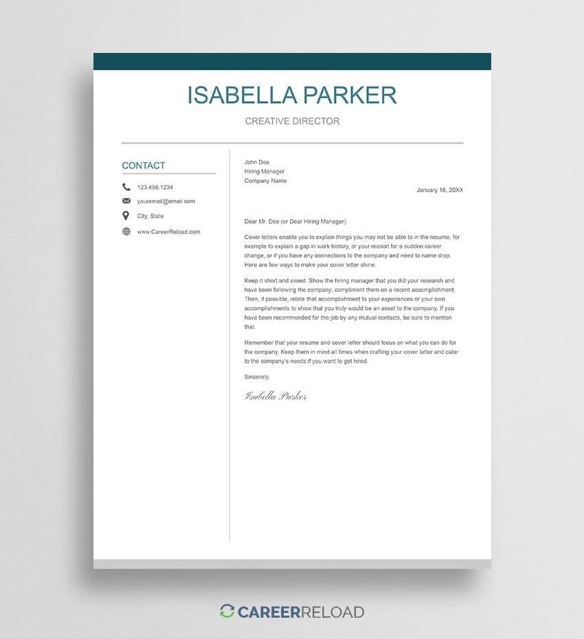 Cover Letter For Google Docs Free Cover Letter Career Reload