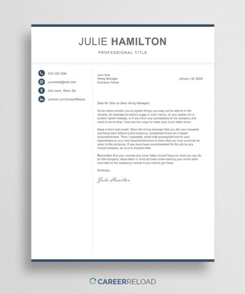 Modern cover letter