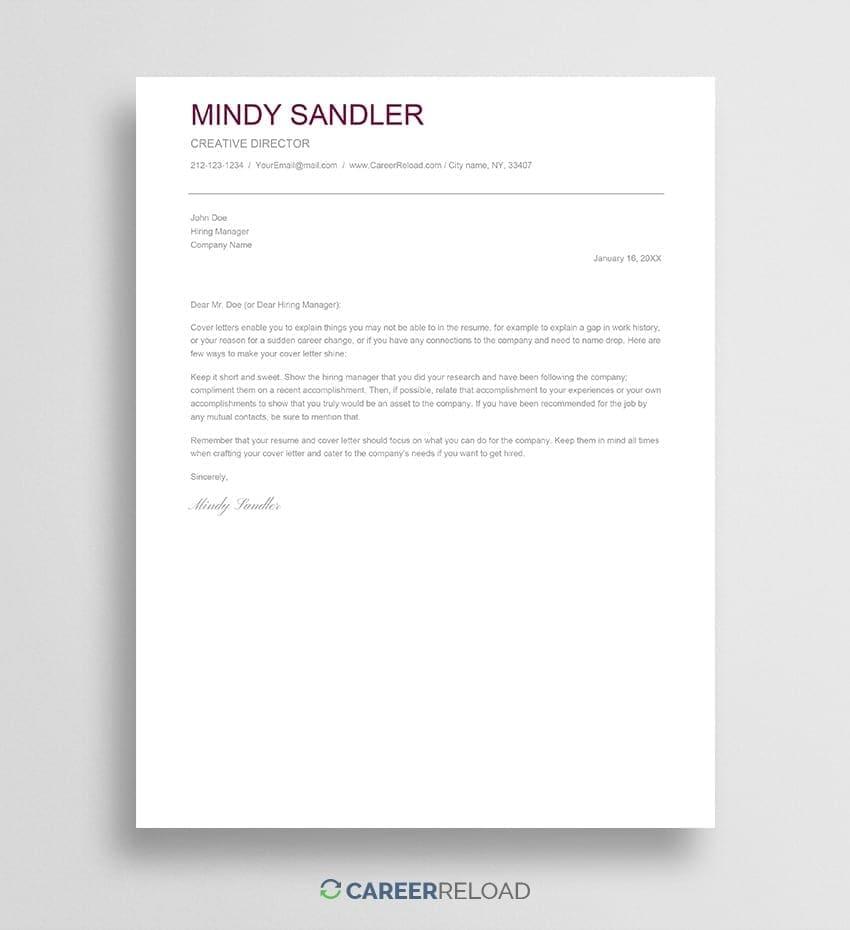 Google Docs cover letter template
