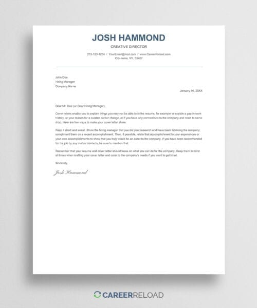 Simple Google Docs cover letter