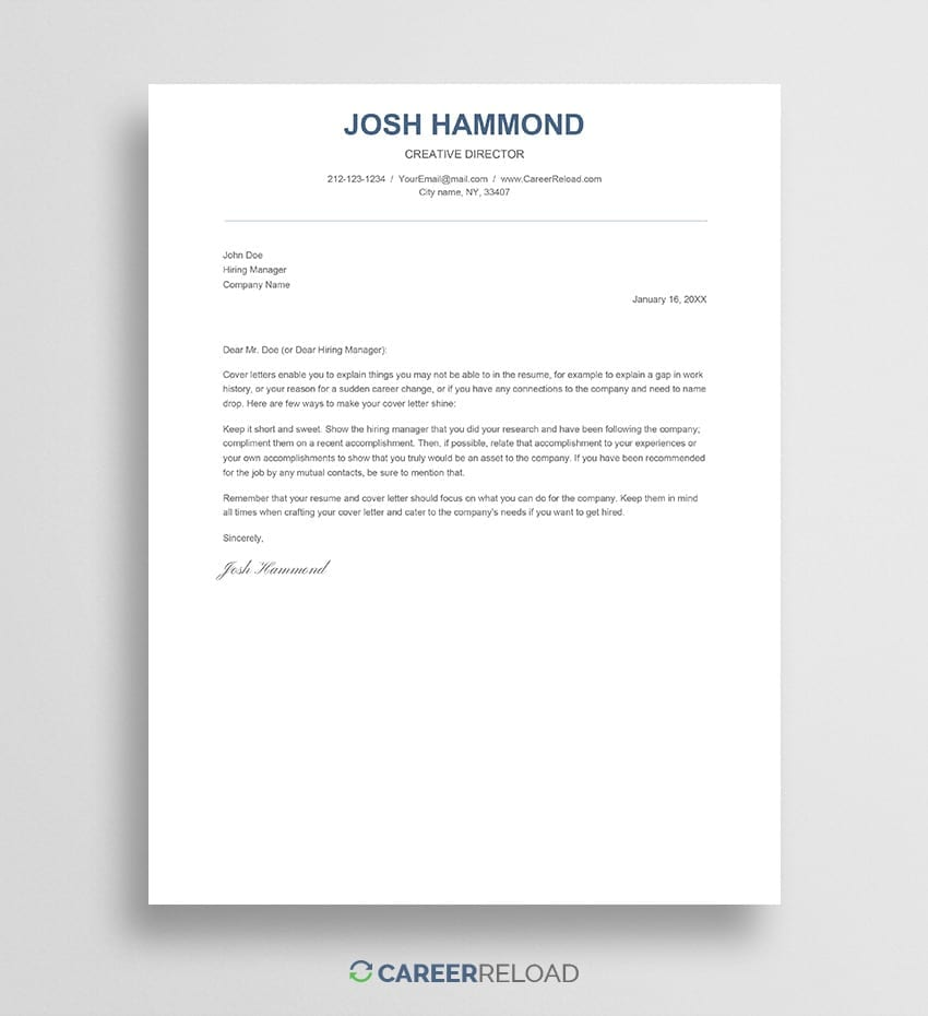 Simple Google Docs Cover Letter Template Career Reload